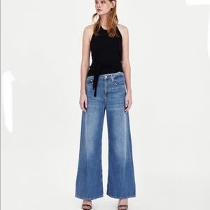 Zara High Waisted Rise Wide Leg Vintage Feel Jeans
